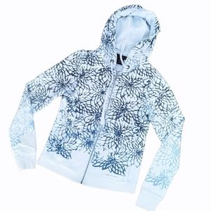 Calvin Klein ombre zip floral blue hoodie
